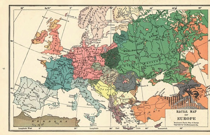 Scan -  Map of Europe, Racial, 1935 Literary Digest Atlas of the World