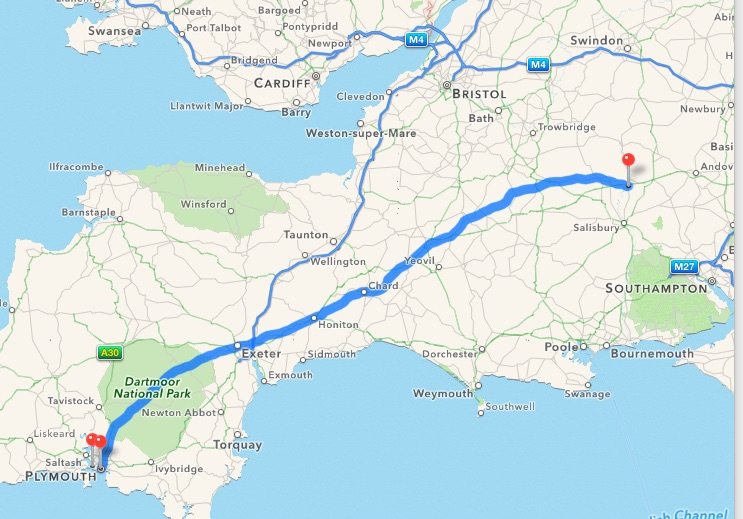 Route from Plymouth