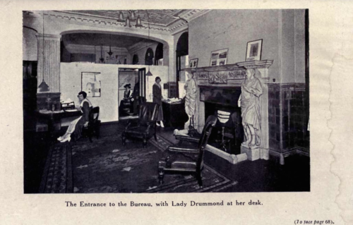 Lady Drummond at desk
